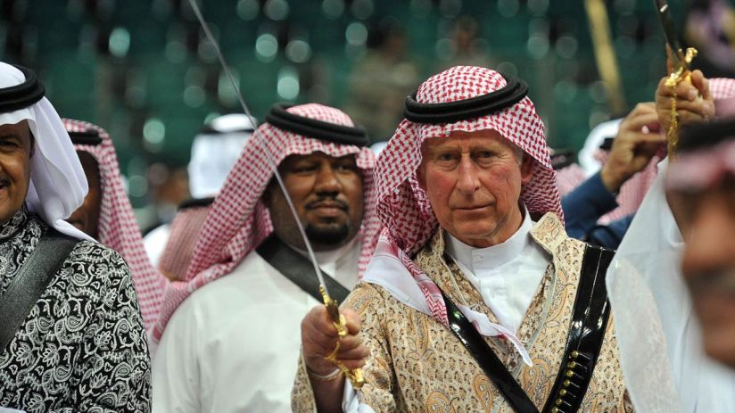 Prince Charles doing sword dance in Saudi Arabia