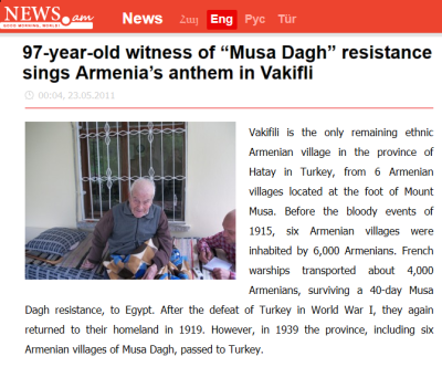97-year-old witness of Musa Dagh resistance sings Armenia's anthem in Vakifli-1